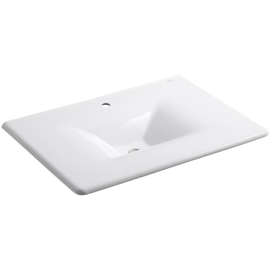 KOHLER Impressions White Cast Iron Rectangular Bathroom Sink