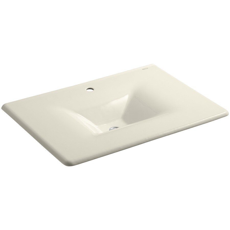 KOHLER Impressions Almond Cast Iron Rectangular Bathroom Sink