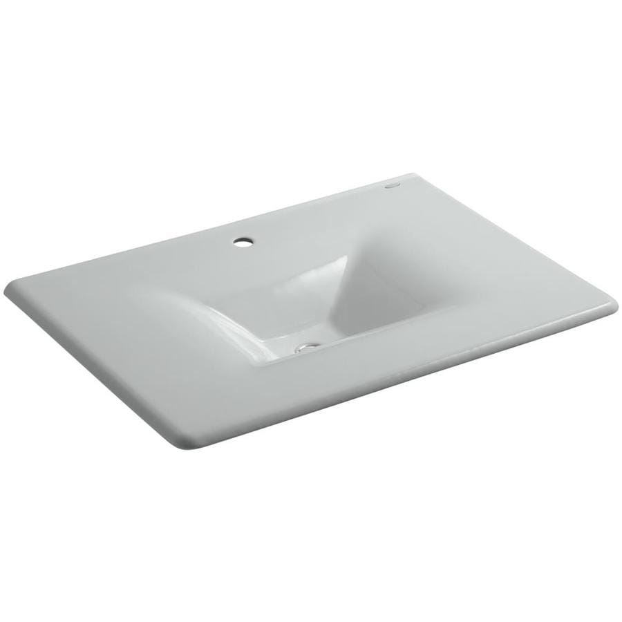 KOHLER Impressions Ice Grey Cast Iron Rectangular Bathroom Sink