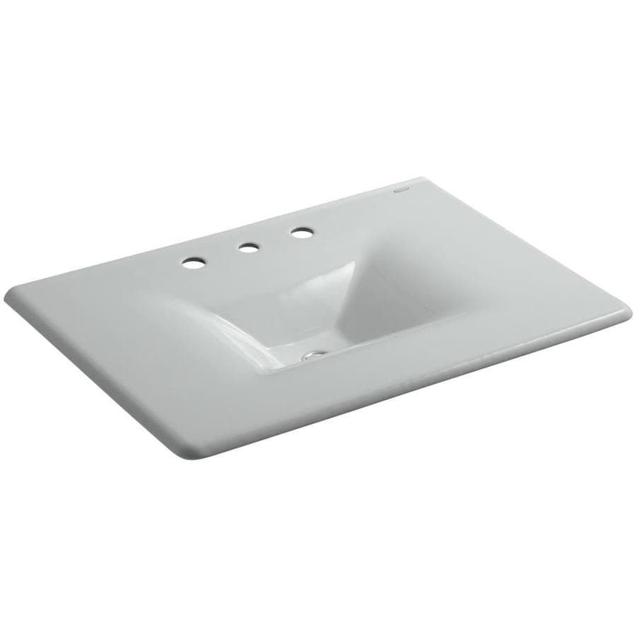 KOHLER Impressions Ice Grey Cast Iron Rectangular Bathroom Sink