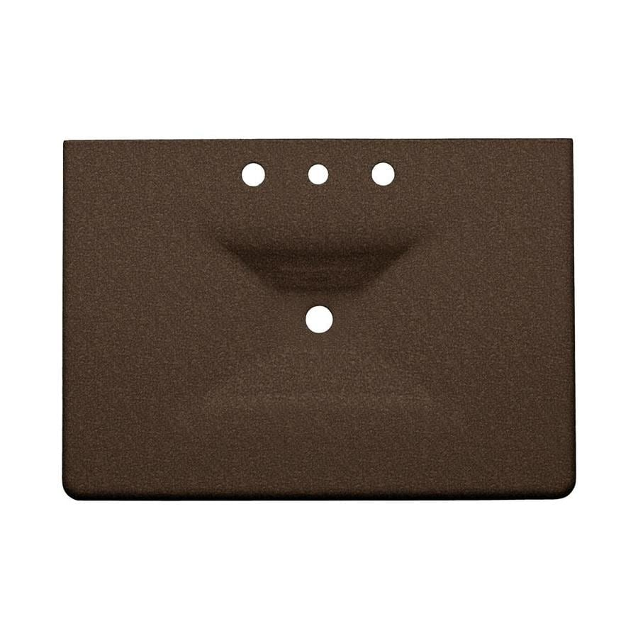 Shop Kohler Iron Impressions Black 39 N Tan Cast Iron Drop In Rectangular Bathroom Sink At