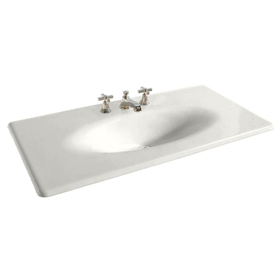Shop kohler iron impressions white cast iron integral single sink bathroom vanity top common Kohler cast iron bathroom sink