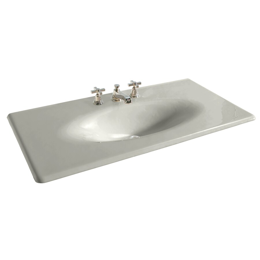 KOHLER Iron/Impressions Ice Grey Cast Iron Integral Bathroom Vanity Top (Common: 44-in x 23-in; Actual: 43.6250-in x 22.2500-in)