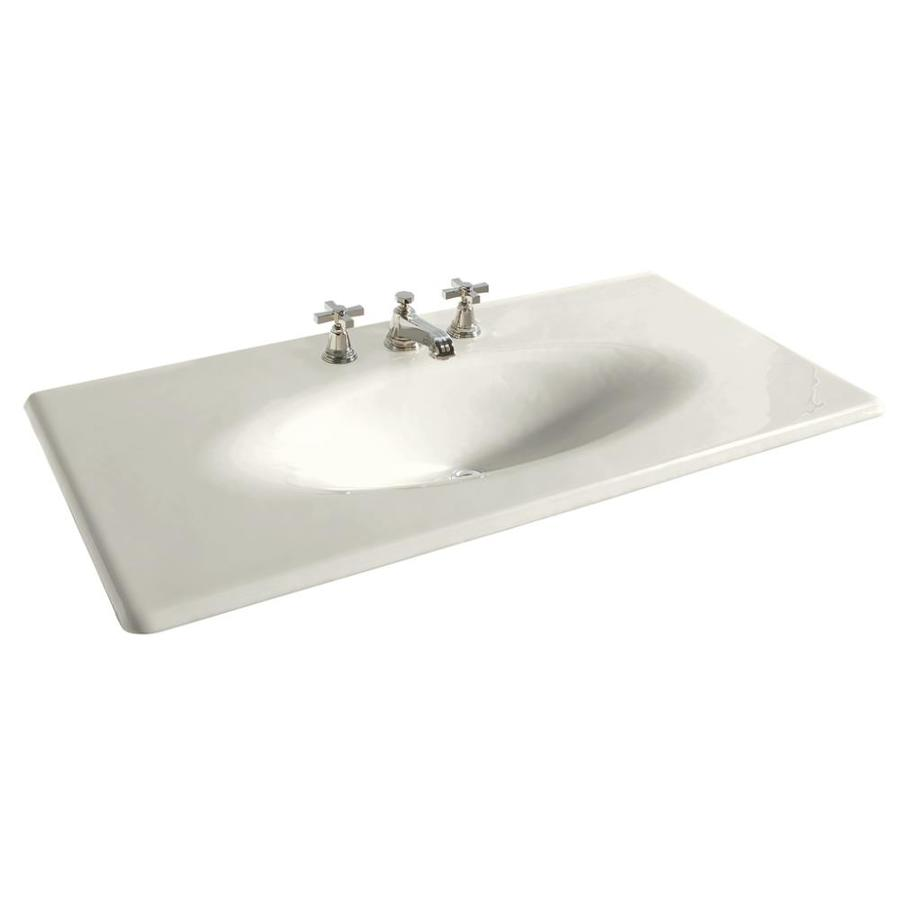 KOHLER Iron/Impressions Biscuit Cast Iron Integral Bathroom Vanity Top (Common: 44-in x 23-in; Actual: 43.6250-in x 22.2500-in)