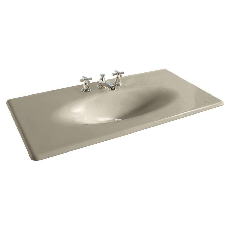 KOHLER Iron/Impressions Sandbar Cast Iron Integral Bathroom Vanity Top (Common: 44-in x 23-in; Actual: 43.6250-in x 22.2500-in)