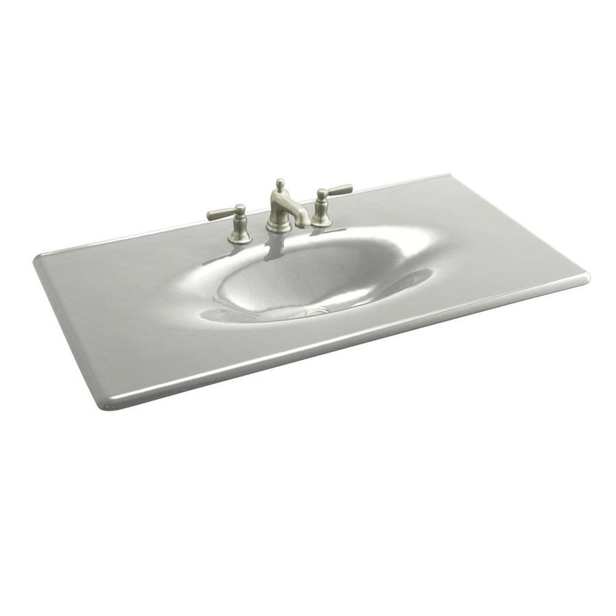 Shop KOHLER Iron/Impressions Sea Salt Cast Iron Integral Single Sink ...