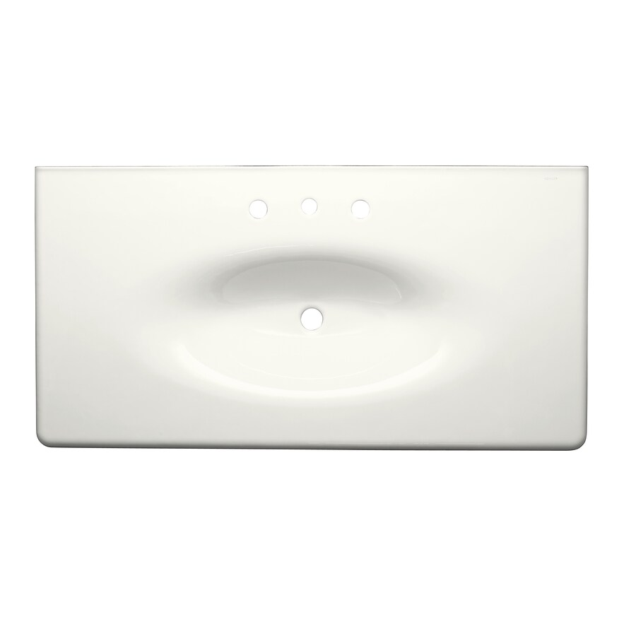 KOHLER Iron/Impressions White Cast Iron Integral Bathroom Vanity Top (Common: 44-in x 23-in; Actual: 43.625-in x 22.25-in)