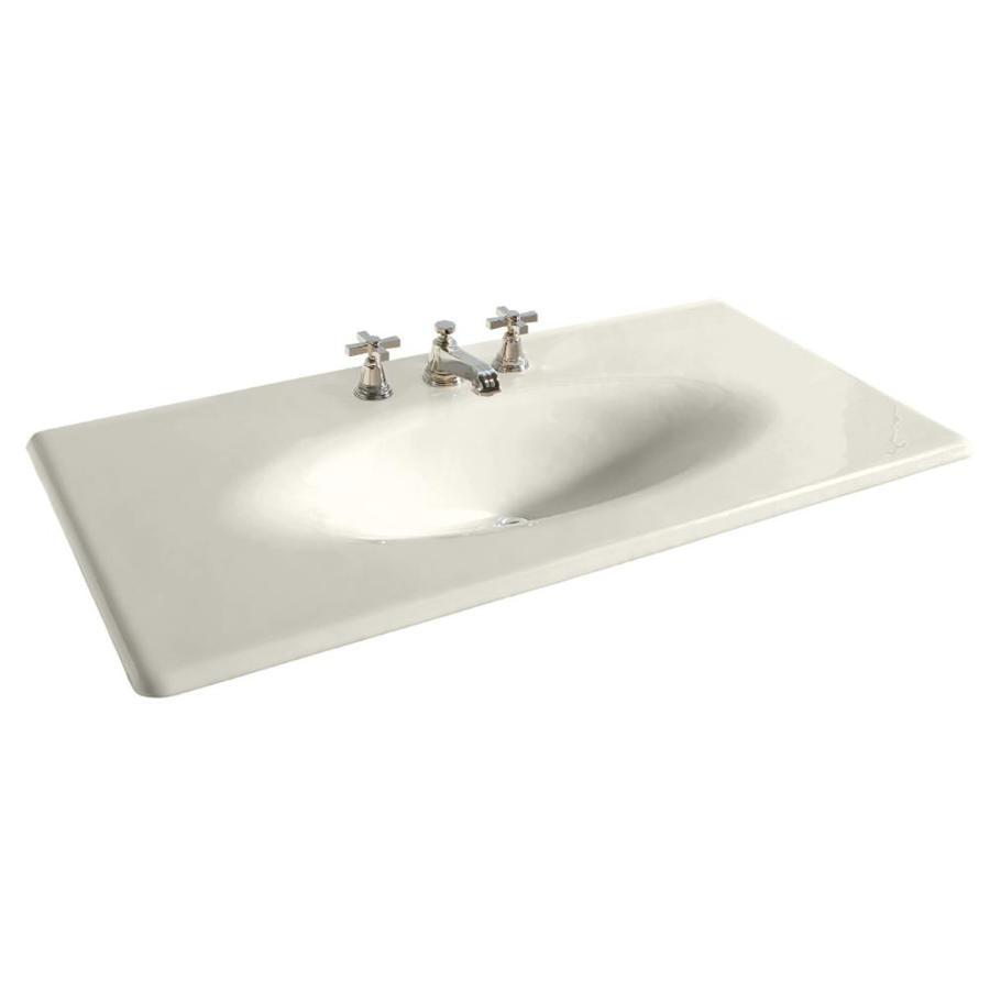 KOHLER Iron/Impressions Biscuit Cast Iron Integral Bathroom Vanity Top (Common: 44-in x 23-in; Actual: 43.625-in x 22.25-in)