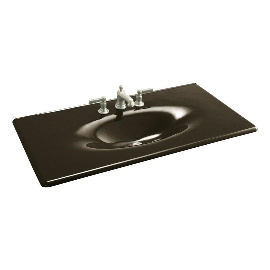 Shop kohler iron impressions black 39 n tan cast iron drop in rectangular bathroom sink at Kohler cast iron bathroom sink