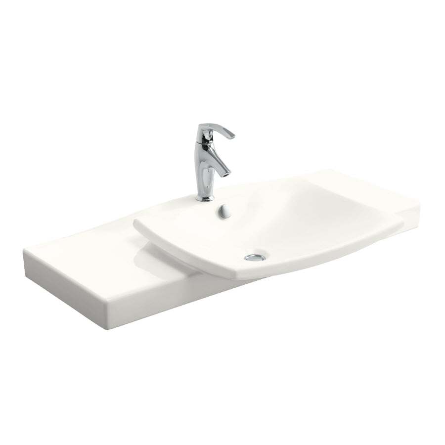 KOHLER Escale White Vitreous China Integral Bathroom Vanity Top (Common: 40-in x 17-in; Actual: 39.75-in x 16.375-in)