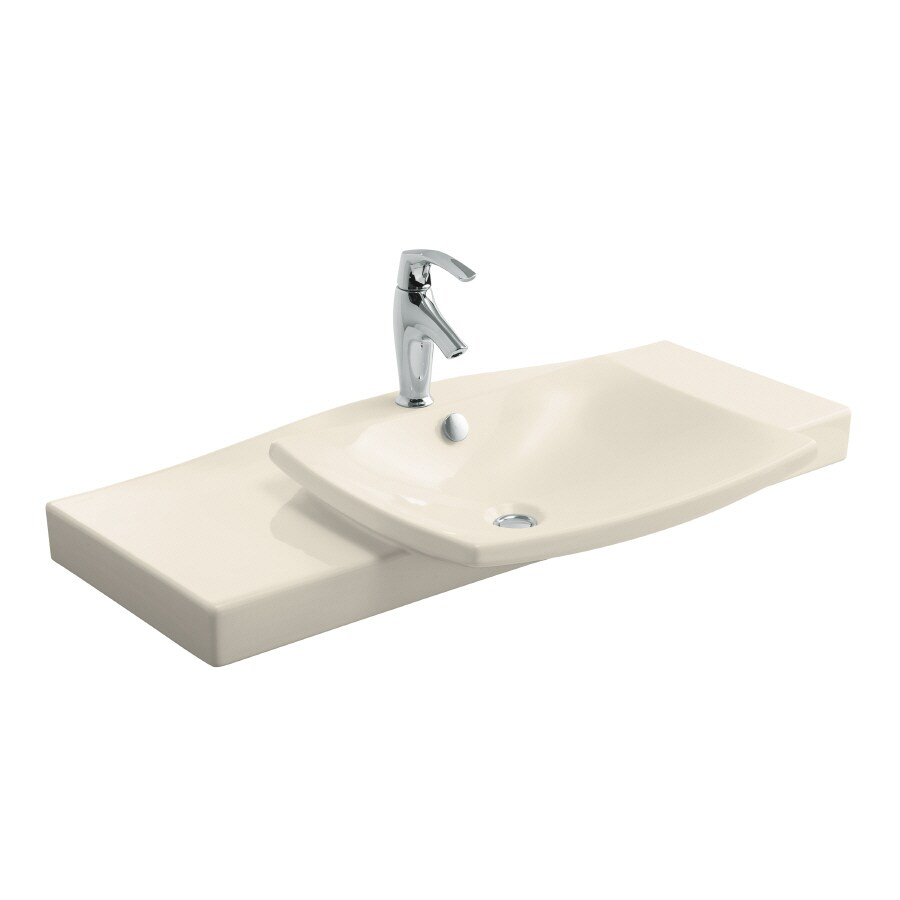 KOHLER Escale Almond Fire Clay Integral Bathroom Vanity Top (Common: 40-in x 21-in; Actual: 39.75-in x 20.3125-in)
