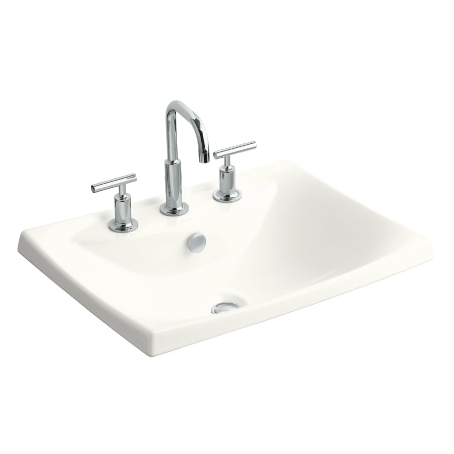 KOHLER Escale White Fire Clay Drop-in Rectangular Bathroom Sink with Overflow