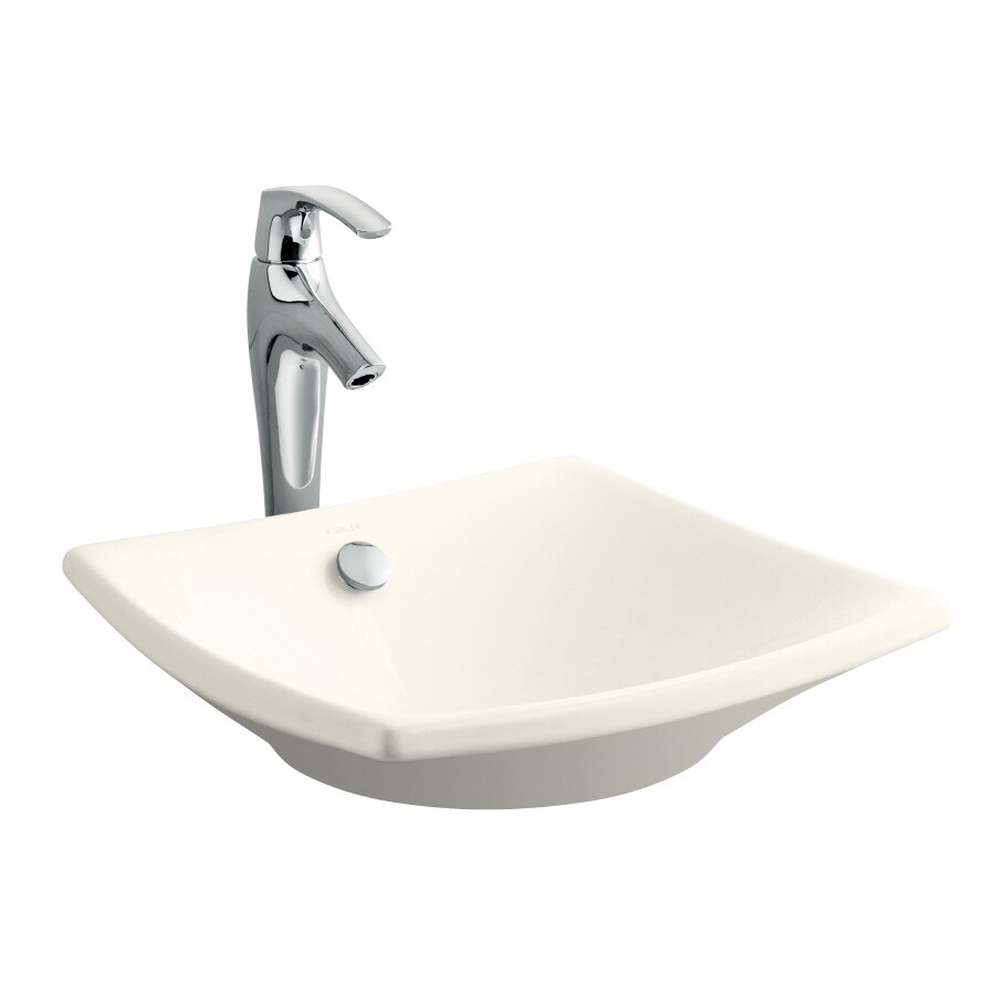 kohler square bathroom sink shop kohler escale biscuit clay vessel square 19034