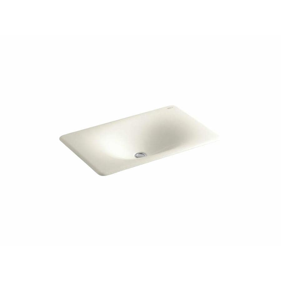 KOHLER Iron/Tones Biscuit Cast Iron Drop-in Rectangular Bathroom Sink