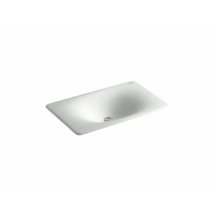 Shop Kohler Iron Tones Sea Salt Cast Iron Drop In Or Undermount Rectangular Bathroom Sink At