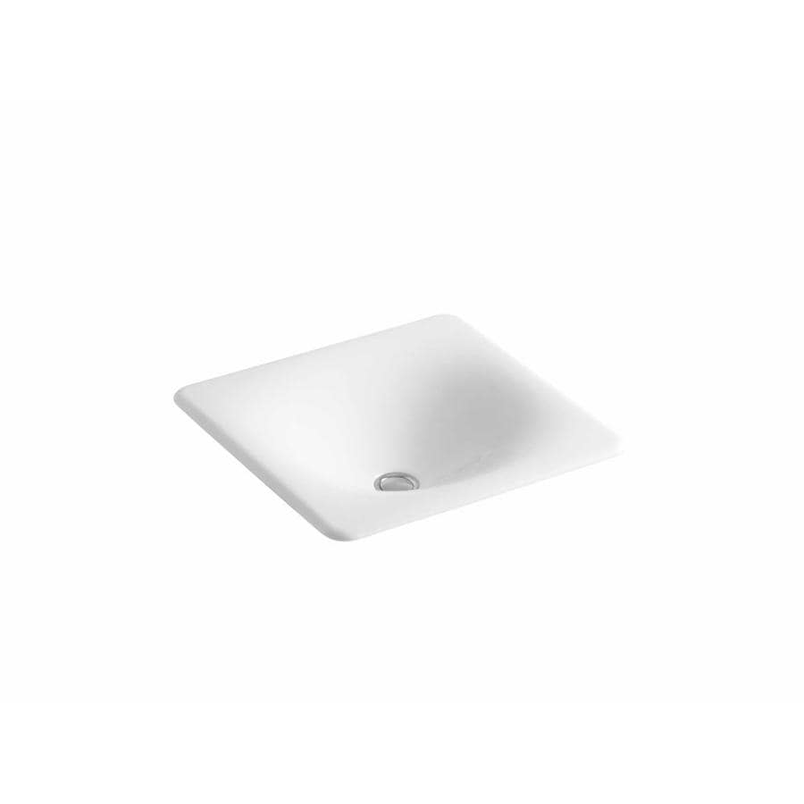 KOHLER Iron/Tones White Cast Iron Drop-in or Undermount Rectangular Bathroom Sink