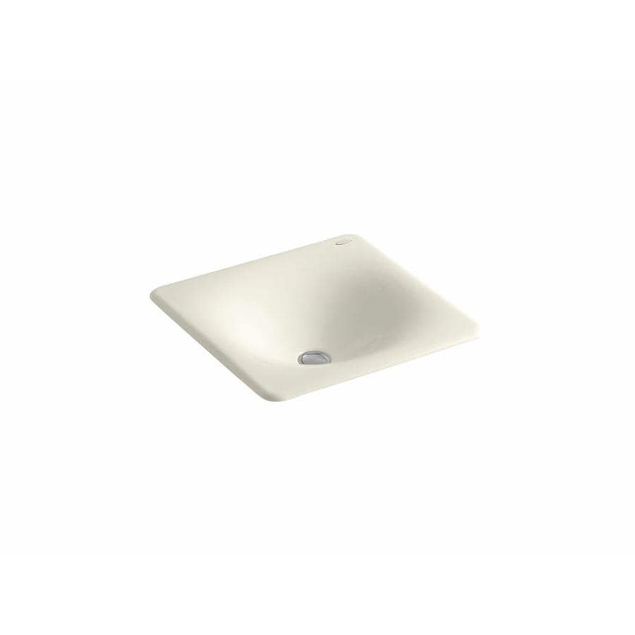 KOHLER Iron/Tones Almond Cast Iron Drop-in or Undermount Rectangular Bathroom Sink