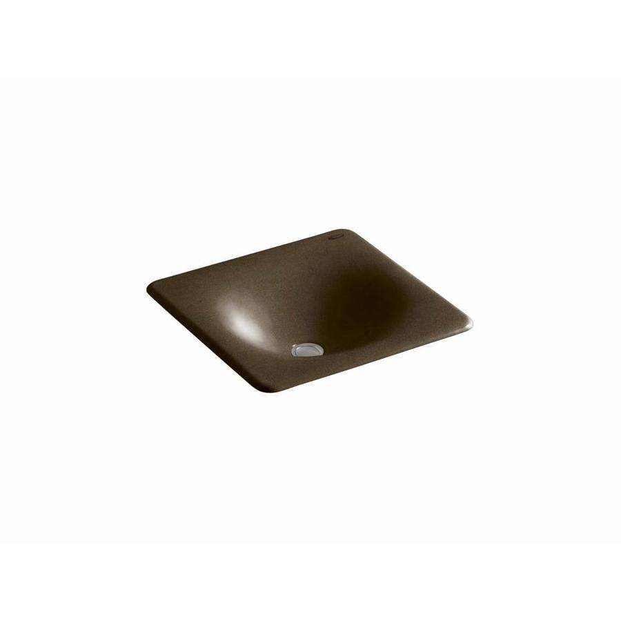 KOHLER Iron/Tones Black 'N Tan Cast Iron Drop-in or Undermount Rectangular Bathroom Sink