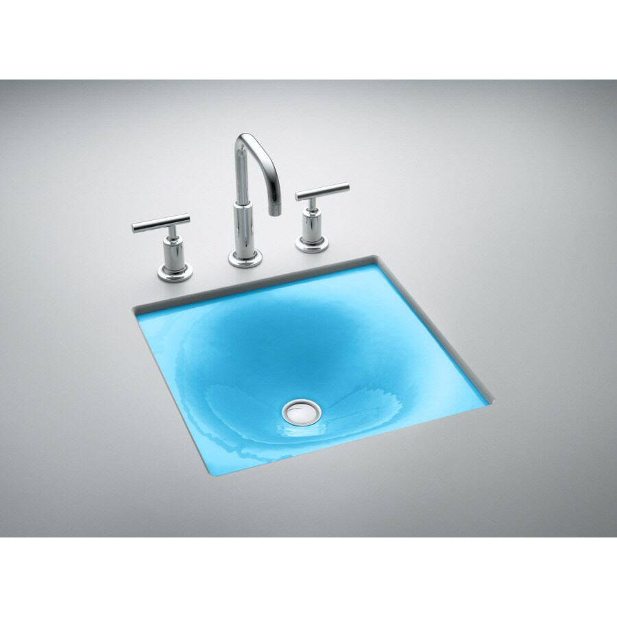 Shop Kohler Iron Tones Vapour Blue Cast Iron Drop In Or Undermount Rectangular Bathroom Sink At