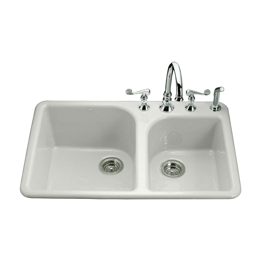 KOHLER Executive Chef 22-in x 33-in Sea Salt Double-Basin Cast Iron Drop-in 4-Hole Residential Kitchen Sink