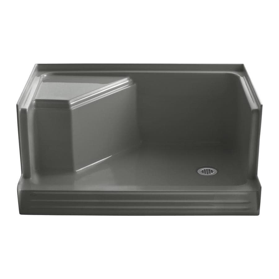 KOHLER Memoirs Thunder Grey Acrylic Shower Base (Common: 36-in W x 48-in L; Actual: 36-in W x 48-in L) with Right Drain