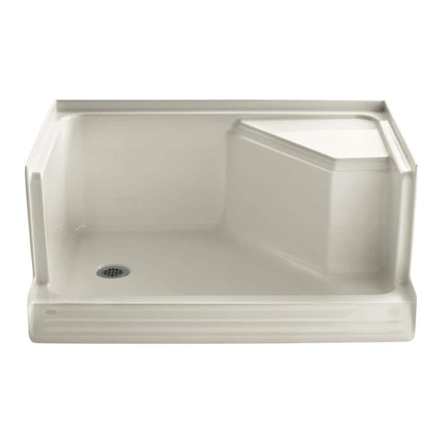 KOHLER Memoirs Almond Acrylic Shower Base (Common: 36-in W x 48-in L; Actual: 36-in W x 48-in L) with Left Drain