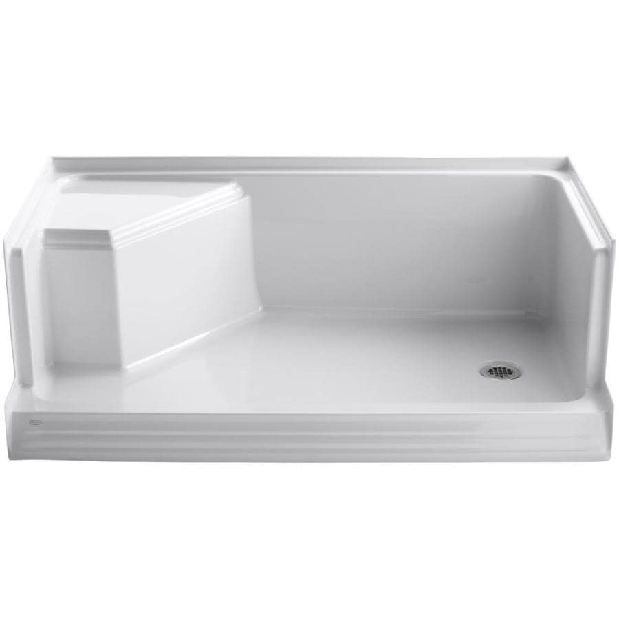 shop kohler memoirs white acrylic shower base 36 in w x 60 in l with right drain at. Black Bedroom Furniture Sets. Home Design Ideas