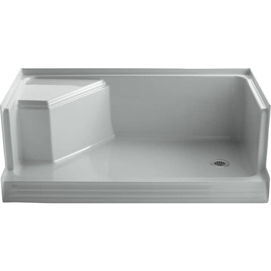 Shop KOHLER Ice Grey Solid Surface Wall Mount Shower Seat at Lowes.com