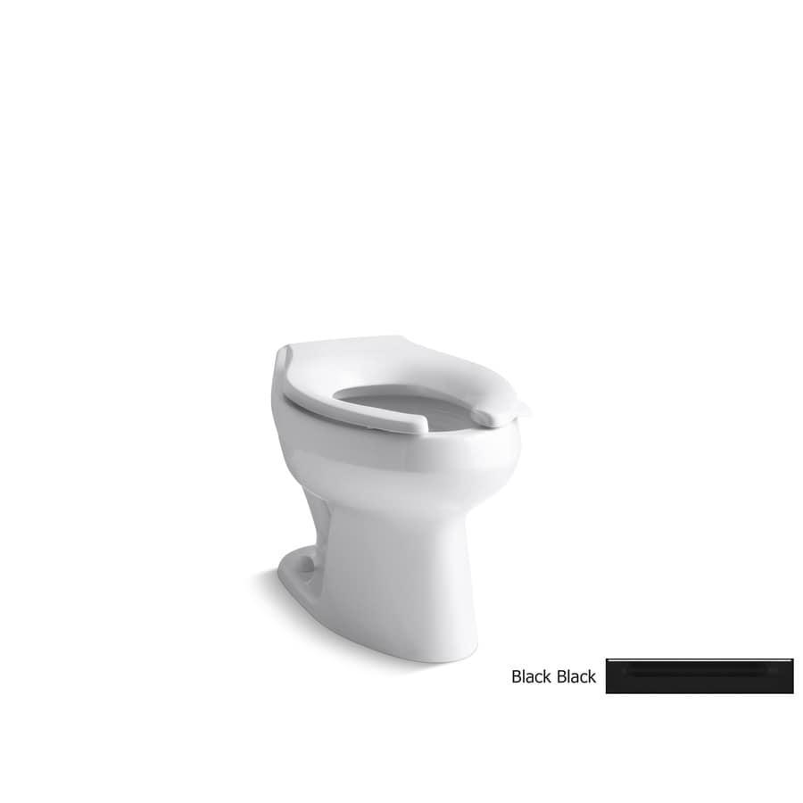 KOHLER Wellworth Standard Height Black Black 10-in Rough-In Elongated Toilet Bowl