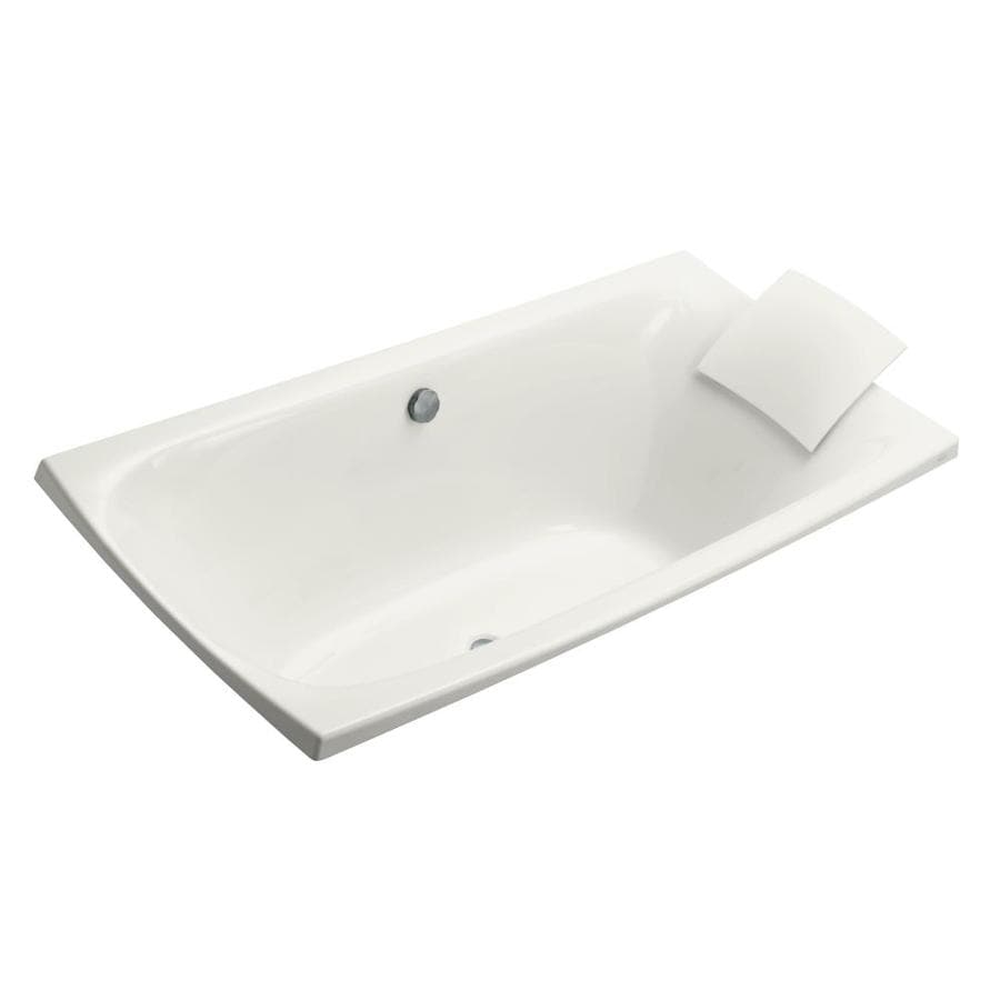 KOHLER Escale White Acrylic Rectangular Drop-in Bathtub with Center Drain (Common: 36-in x 72-in; Actual: 24.125-in x 36-in x 72-in)