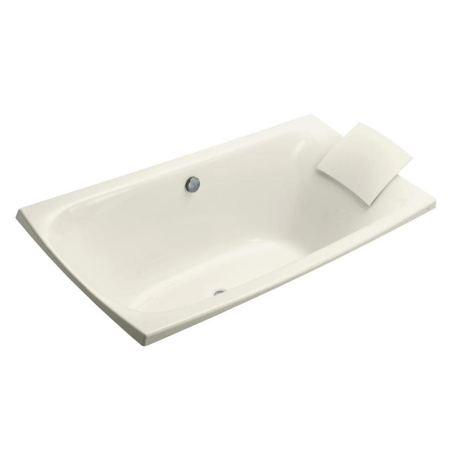 KOHLER Escale Biscuit Acrylic Rectangular Drop-in Bathtub with Center Drain (Common: 36-in x 72-in; Actual: 24.125-in x 36-in x 72-in)