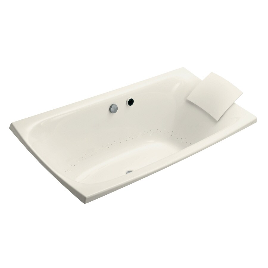 KOHLER Escale 72-in Biscuit Acrylic Drop-In Air Bath with Reversible Drain