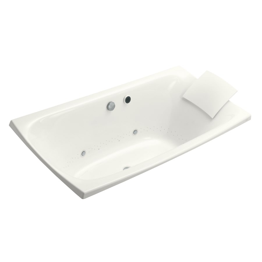 KOHLER Escale 72-in White Acrylic Drop-In Air Bath with Reversible Drain