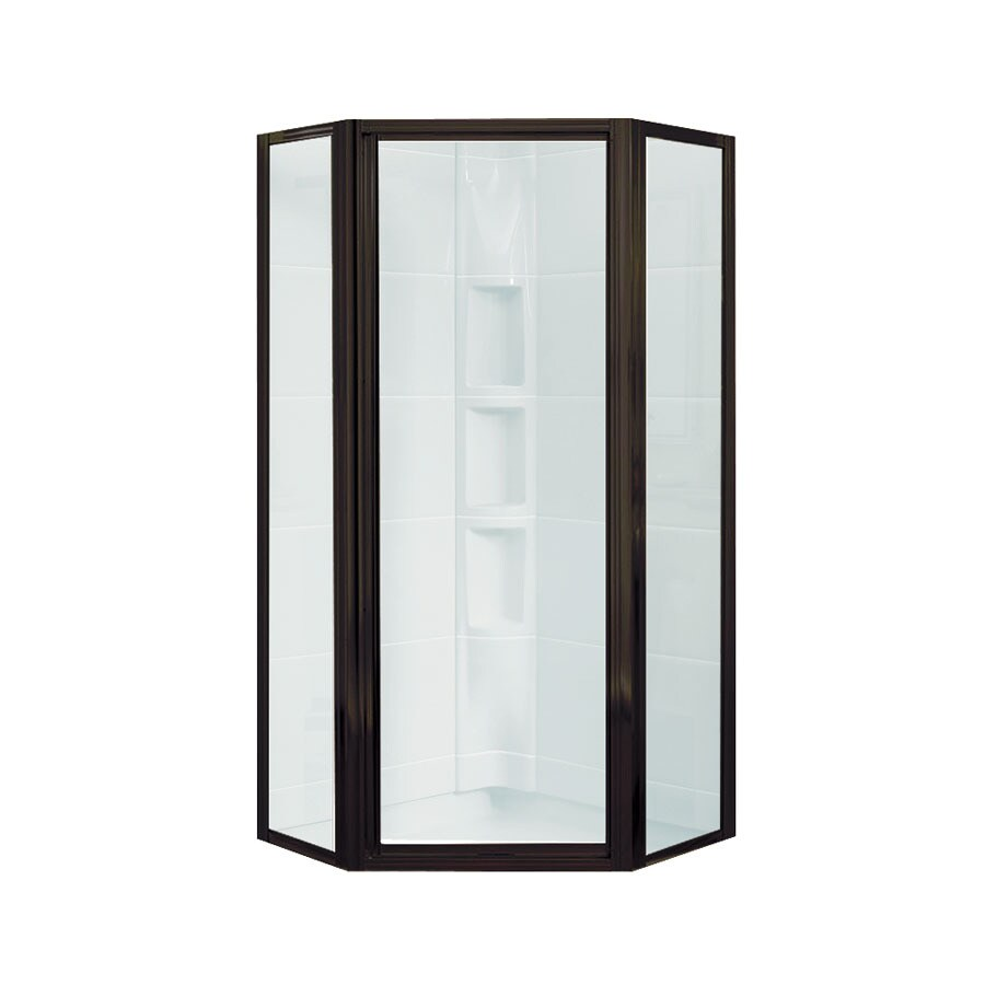 Sterling Intrigue 23-in to 27.5625-in Framed Deep bronze Hinged Shower Door