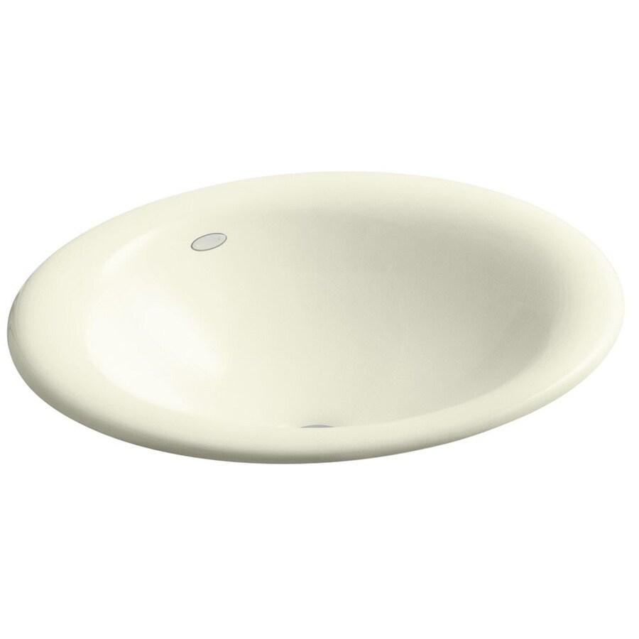 KOHLER Iron Bell Cane Sugar Cast Iron Drop-in Oval Bathroom Sink