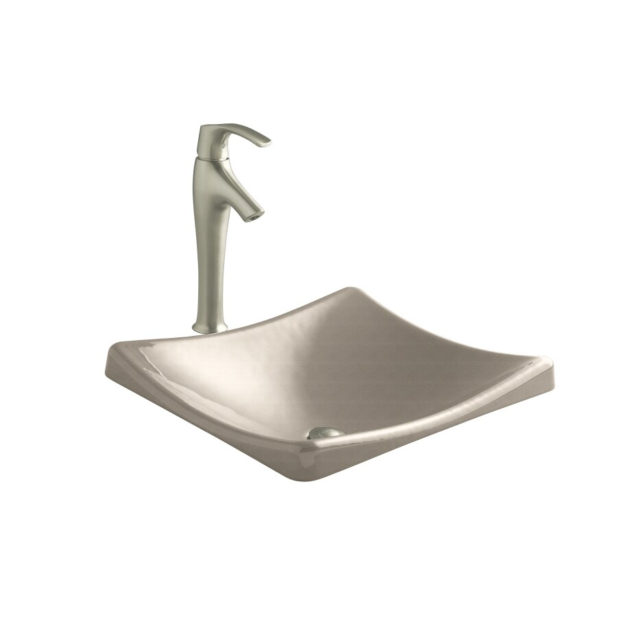 KOHLER Demilav Cane Sugar Cast Iron Drop-in Rectangular Bathroom Sink