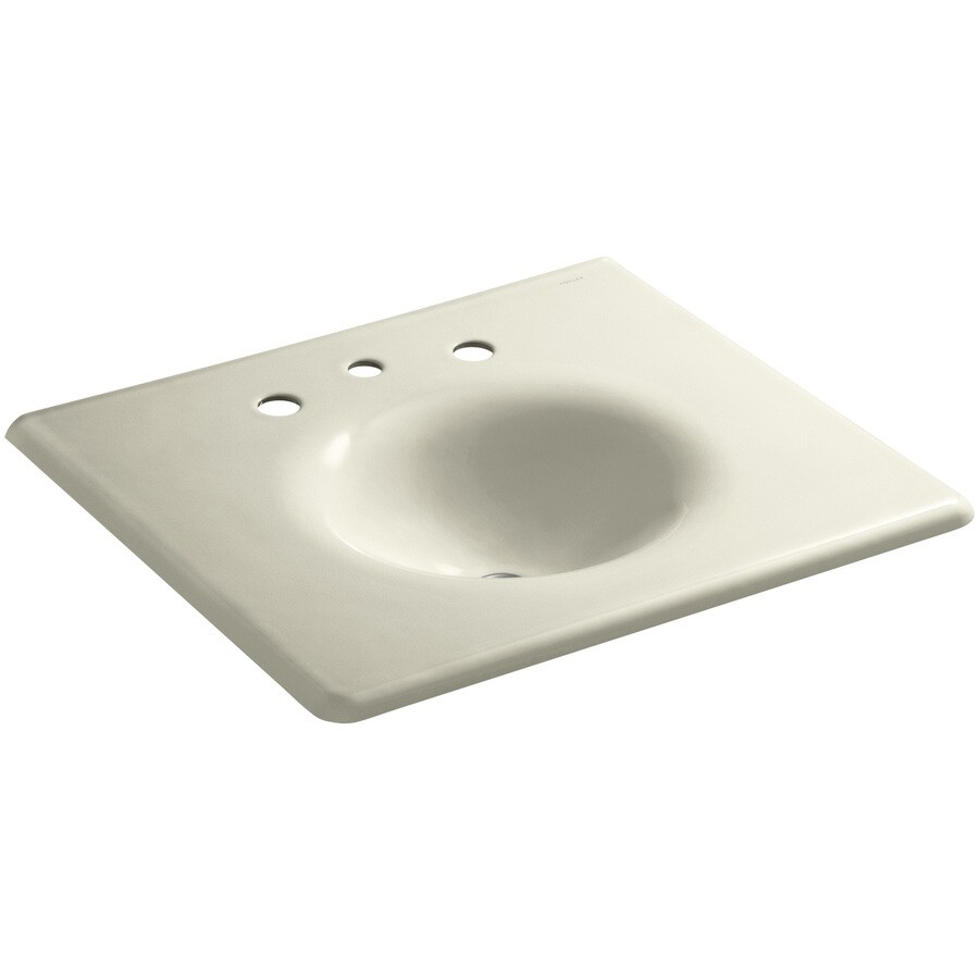 KOHLER Impressions Sea Salt Cast Iron Oval Bathroom Sink