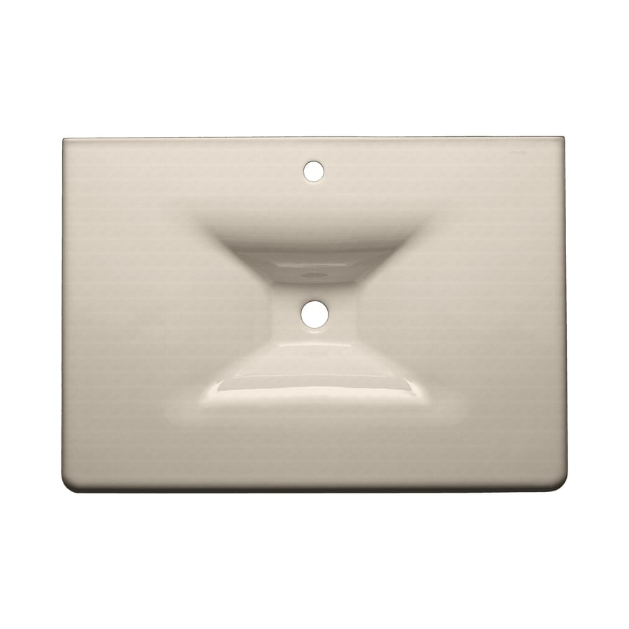 KOHLER Iron/Impressions Sea Salt Cast Iron Drop-in Rectangular Bathroom Sink