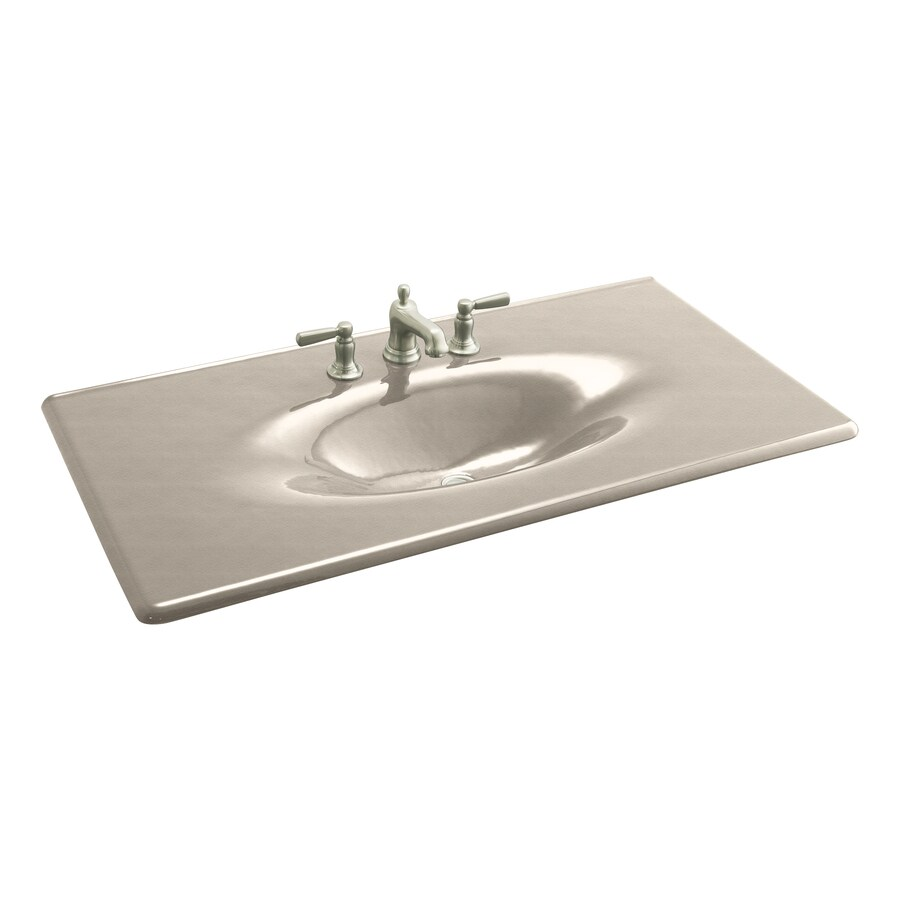 KOHLER Iron/Impressions Cane Sugar Cast Iron Integral Bathroom Vanity Top (Common: 44-in x 23-in; Actual: 43.625-in x 22.25-in)