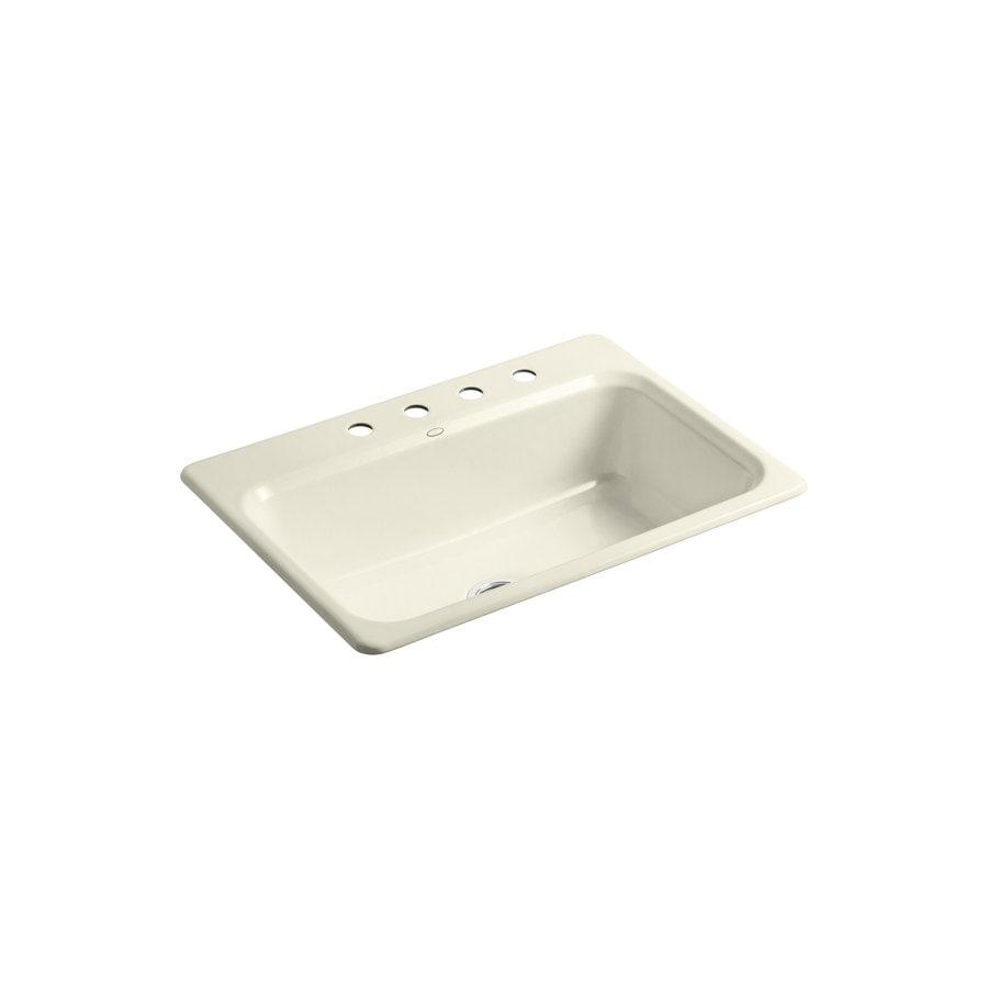 KOHLER Bakersfield 22-in x 31-in Cane Sugar Single-Basin Cast Iron Drop-in 4-Hole Residential Kitchen Sink