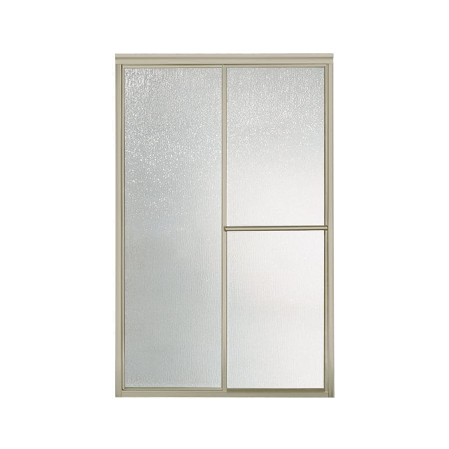 Sterling Deluxe 54.6250-in to 59.3750-in Framed Brushed nickel Sliding Shower Door