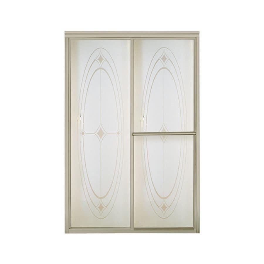 Sterling Deluxe 54.375-in to 59.375-in W Framed Brushed Nickel Sliding Shower Door