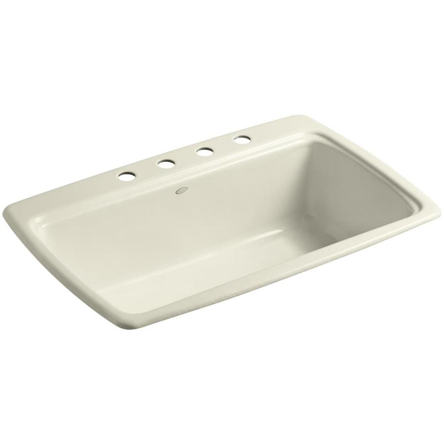 KOHLER Cape Dory 22-in x 33-in Cane Sugar Single-Basin Cast Iron Drop-in 4-Hole Residential Kitchen Sink