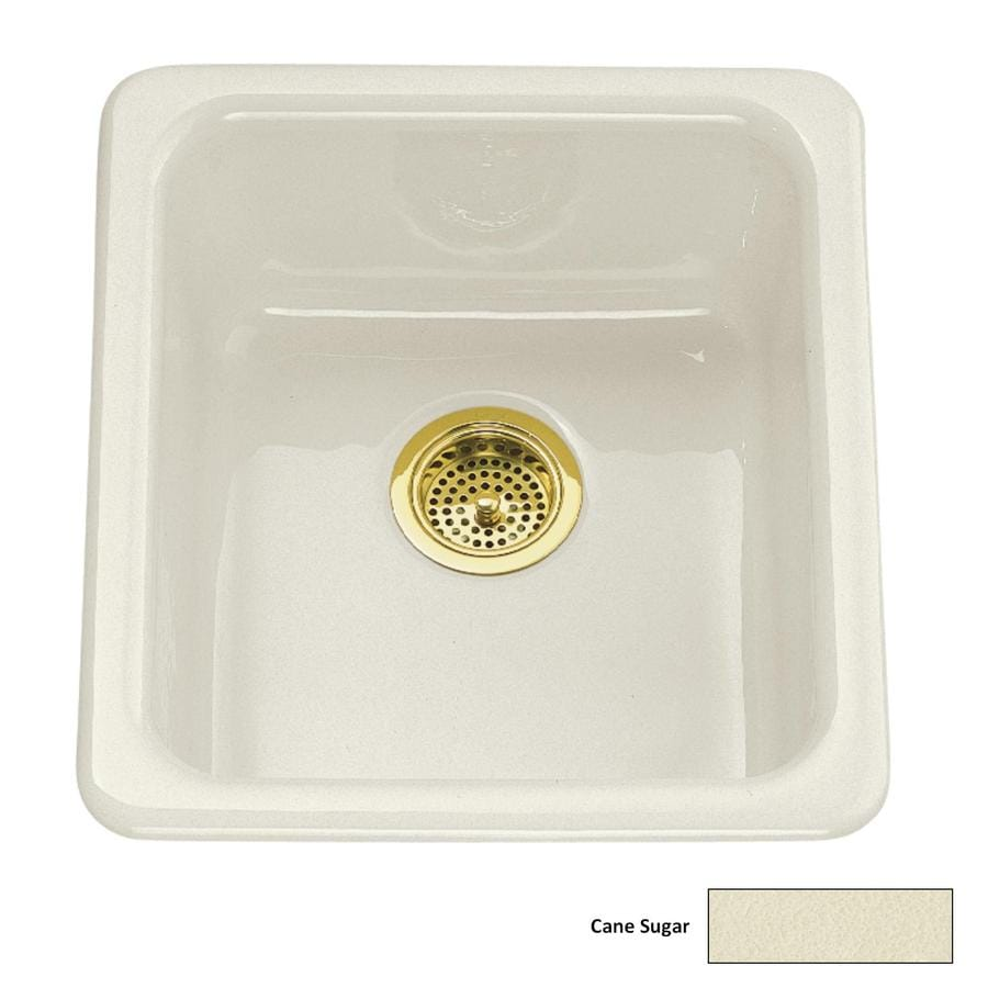 KOHLER Iron/Tones 18.75-in x 17-in Cane Sugar Single-Basin-Basin Cast Iron Drop-in or Undermount (Customizable)-Hole Residential Kitchen Sink