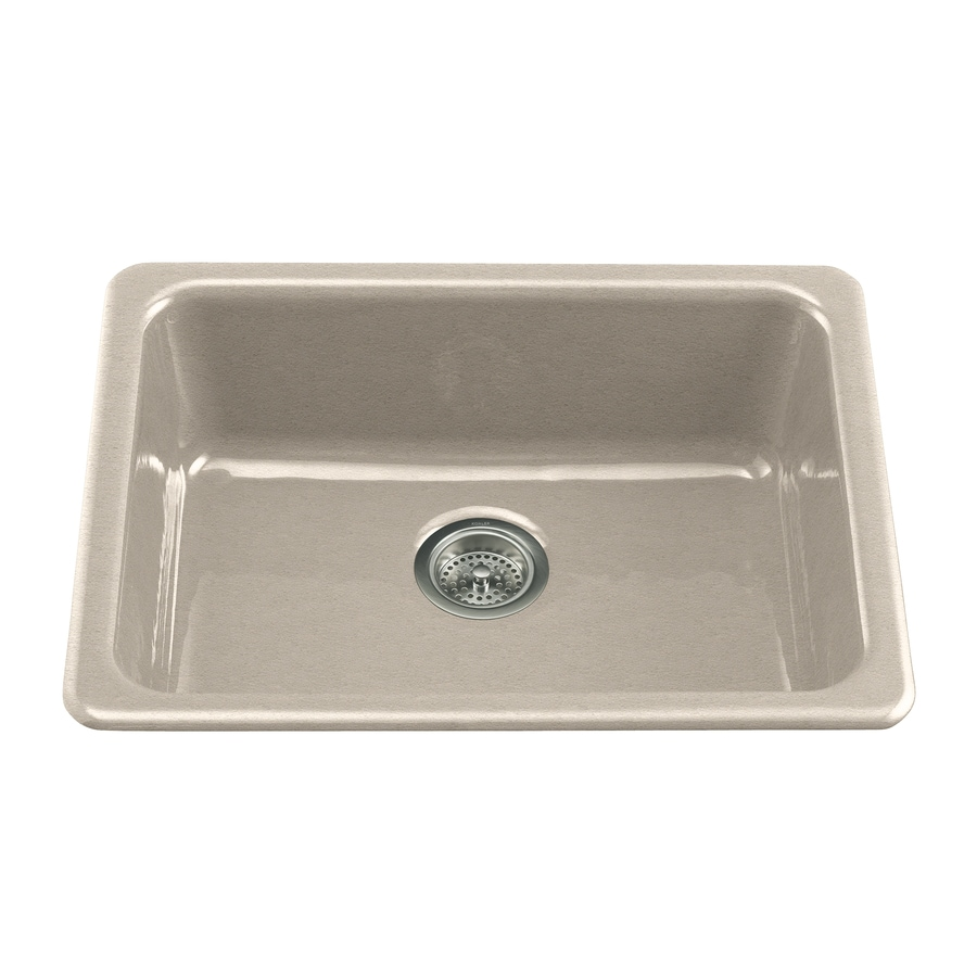 KOHLER Iron/Tones 18.75-in x 24.25-in Cane Sugar Single-Basin Cast Iron Drop-in or Undermount Residential Kitchen Sink