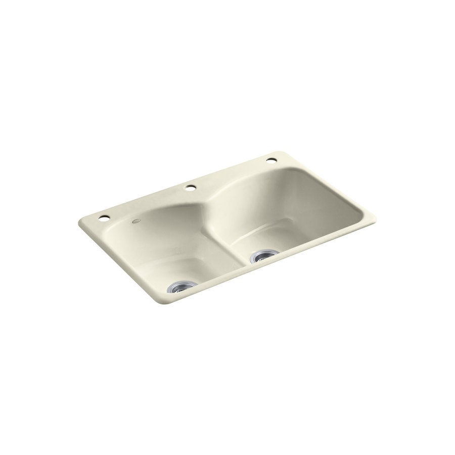 KOHLER Langlade 22-in x 33-in Cane Sugar Double-Basin Cast Iron Drop-in 3-Hole Residential Kitchen Sink