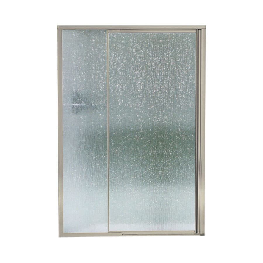 Sterling Vista Pivot II 42-in to 48-in Framed Brushed nickel Pivot Shower Door