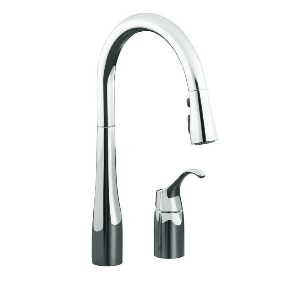 KOHLER Simplice Polished Chrome 1-Handle Pull-Down Kitchen Faucet