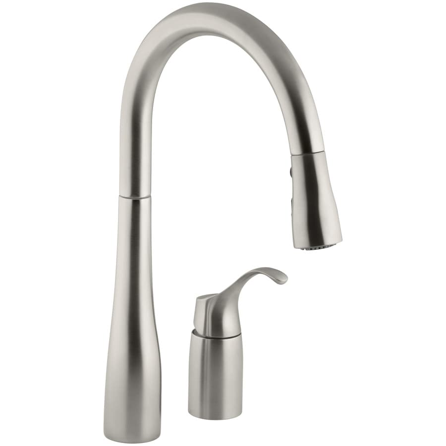 Kohler Simplice Vibrant Stainless 1 Handle Deck Mount Pull Down Sweep Kitchen Faucet