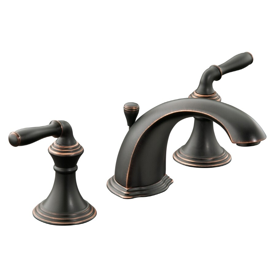 KOHLER Devonshire Oil-Rubbed Bronze 2-Handle Widespread WaterSense Bathroom Faucet (Drain Included)